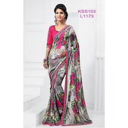 Pink and Gray Floral Printed Saree