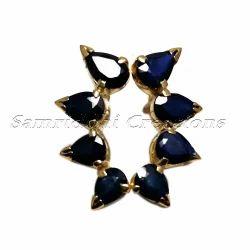 925 Sterling Silver Blue Sapphire Stud Ear Cuff Pair Jewelry
